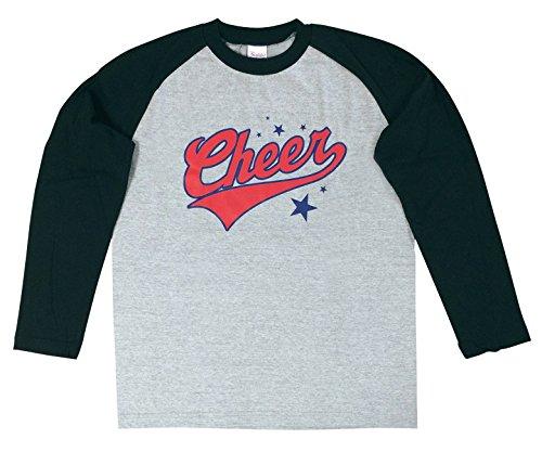 実り多い八背景エイティズラグランシャツ [GW-3366 Cheer 2トーン長袖Tシャツ] (S, 杢グレー×ブラック)