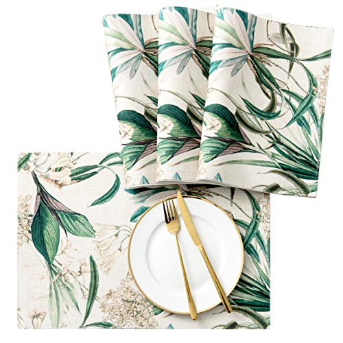 SyMax Printed Table Placemats Wrinkle-Free Waterproof Placemats for Dining Table (Orchid, 4pcs)