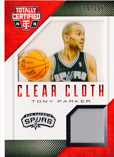 - 2014-15 Totally Certified Clear Cloth Jerseys Red #45 Tony Parker Game-Worn Jersey Card Serial #'d/299