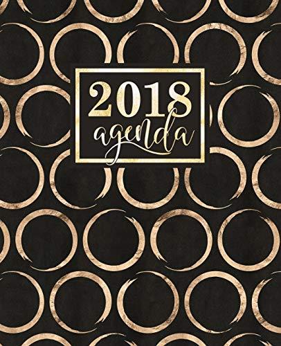Agenda: 2018 Agenda Settimanale Italiano: Cerchi Dorati Shimmer Su Sfondo Nero: 19x23cm