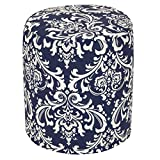 Majestic Home Goods Navy Blue French Quarter Indoor/Outdoor Bean Bag Ottoman Pouf 16'' L x 16'' W x 17'' H
