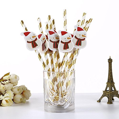 DZT1968 10PCS Christmas 19.7cm Multicolor Drink Paper Straws Birthday Party Theme Festivals (H) (Countdown Rings Christmas)