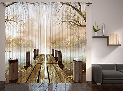 Ambesonne Autumn Curtains, Old Wooden Jetty on a Lake with Fallen Leaves and Foggy Forest in Distance, Living Room Bedroom Window Drapes 2 Panel Set, 108 X 84 , Brown Taupe