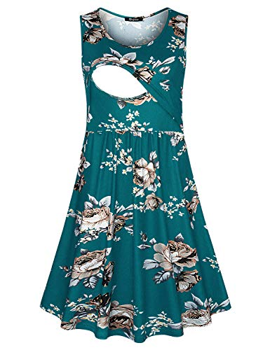Quinee Nursing Maxi Dresses, Womens Summer Sleeveless Latched Mama Loose Fitting Breastfeeding Dress with Double Layers Mid Length A Line Trensy Soft Maternity Clothing Blue Floral L