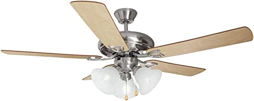 Design House 154013 Downrod Mount, 3 maple Blades Ceiling fan with 60 watts light, Satin Nickel
