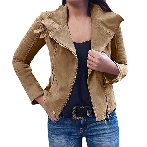 Womens Ladies Long Sleeve Sweatshirt Retro Rivet Zipper Up Bomber Jacket Casual Coat Outwear Oversized ()