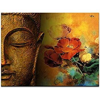 Awesome Buddha Canvas Wall Art,Framed And Stretched,Large Size Merciful Buddha, Act  With