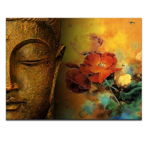 Buddha Canvas Wall Art,Framed and Stretched,Large Size Merciful Buddha, Act with Compassion ,24x32inches Canvas Print,Water-proof,Sincere Belief
