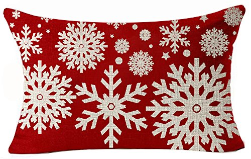 Andreannie Happy Holidays Beige Ivory Geometric Christmas Snowflakes in Red Cotton Linen Throw Waist Lumbar Pillow Case Cushion Cover Personalized Home Decorative Rectangle 12 X 20 ()