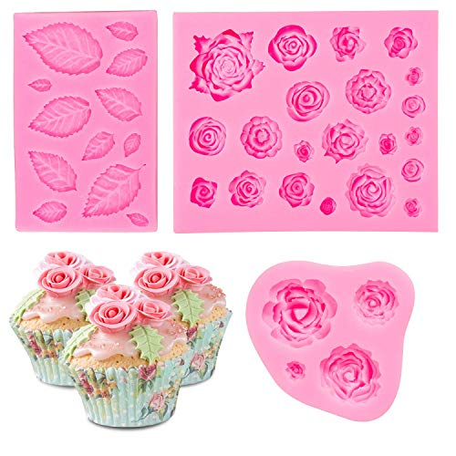 (Whaline 3 Pack Rose Silicone Molds, Pink Roses and Leaves Silicone Mold Baking Tools for Wedding Birthday Party Cake Decoration, Cupcake Topper, Chocolate, Candy)