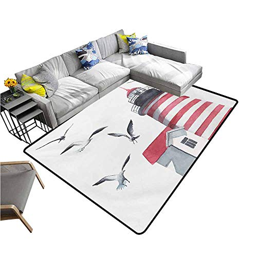 - Anti-Fatigue Comfort Mat Lighthouse,Lighthouse and Seagulls on The Beach Navigational Aid Seaside Waterways Art,Red Grey White 48