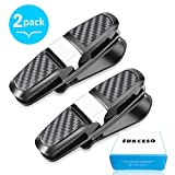 double sun visor - SUKCESO Glasses Holder for Car Visor, Upgraded Sun-Glasses Mount with Double-Ended Clips and Ticket Card Clip, ±180° Rotational, Fits Most Eyeglasses (2 Pack, Black)