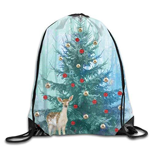 (Yuletide Christmas Yule Tree Pagan Deer Patterned Themed Printed Drawstring Book School Shopping Travel Back Bags Draw String Gym Backpack Bulk Girl Boy Women Men)