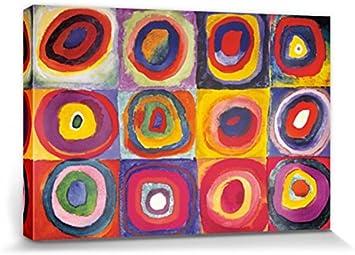 1art1 Vassili Kandinsky - Estudio del Color, Cuadrados con Círculos Concentrados, 1913 Cuadro, Lienzo Montado sobre Bastidor (120 x 80cm)