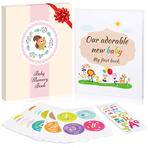 Baby Memory Book Pink Gift Box 28 Milestone Stickers. Capture Baby s First 5 Years of Milestones, Memories, Moments, Holidays, and Firsts in This 64-Page Journal Scrapbook by EmmaSweetie