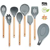 Grey Silicone Cooking Utensil Set - 8 piece Kitchen Tool Set - Non-stick Silicone and Wood Utensils - Turner, Spatula, Spoon Set, Spoon Rest, Skimmer, Ladle,Pasta Server, Kitchen Tool Set