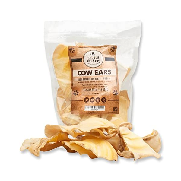 BRUTUS & BARNABY All Natural, Whole Cow Ears for Dogs, Harvested from Free Range, No Hormone's Added, Grass Fed Cattle, USDA/FDA Approved 1