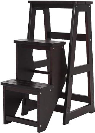 Gym Taburete Plegable Escalera de Pino y Escalera multifunción, Escalera de Tres peldaños. Taburete Plegable para el hogar o la Cocina.: Amazon.es: Hogar