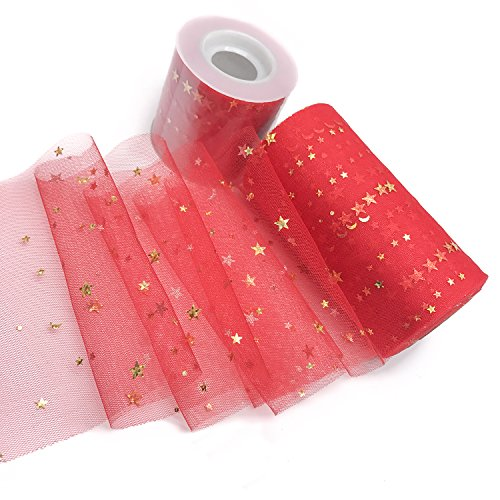 6.5cm/13cm X 25yd Sparkling Tulle Roll - DIY Craft Wedding Party Gift Bow Craft Sequin Fabric Spool Tutu Party Banquet Decor Gift Wrap (13cm x 25Y, red)