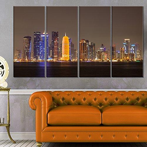 Bracket Cityscape Wall (Designart MT10120-20-12 Doha City Skyline At Night Qatar Cityscape Metal Wall Art, 20 x 12)
