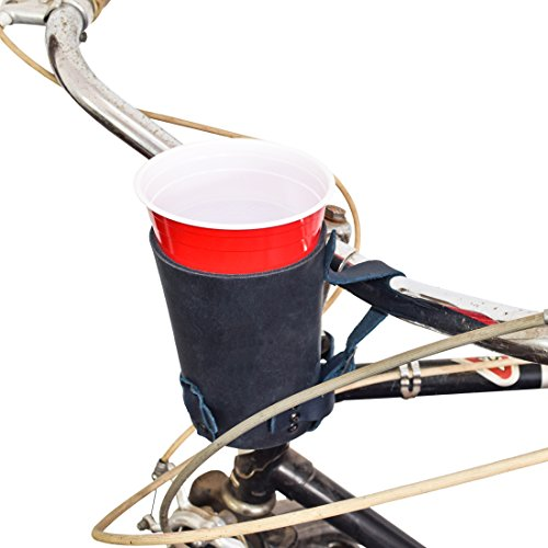 Hide & Drink Cruzy Thick Leather Bike Cup Holder Handmade Slate Blue