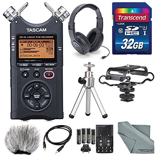 tascam-dr-40-4-track-handheld-digital-audio-recorder-with-microphone-shockmount-dedicated-windscreen