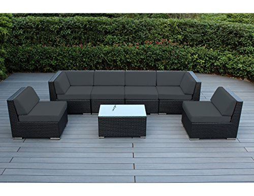 Ohana 7 piece outdoor wicker patio furniture sectional for Outdoor furniture without cushions