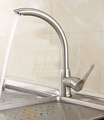 ELLO&ALLO Touch on Kitchen Sink Faucet Single Handle with One Hole Mixer Tap, 360 Rotatable and High-Arch Spout Modern Design, Chrome/Brushed Nickel
