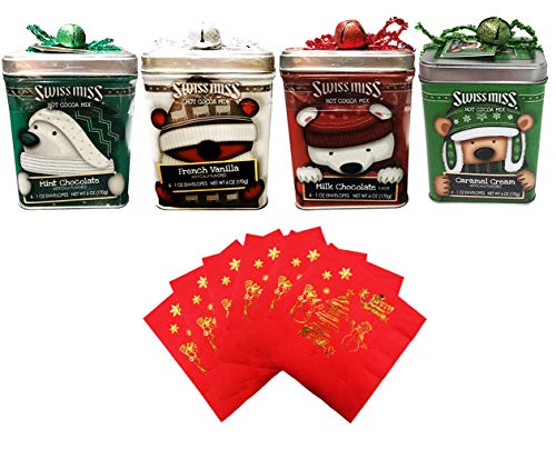Swiss Miss Cocoa Bears with Hats Tins Holiday Collection Gift Set | 4 Flavors 6 oz Each | Milk Chocolate + French Vanilla + Caramel Cream + Mint Chocolate | Christmas Beverage Napkins | Gift Tag/Card