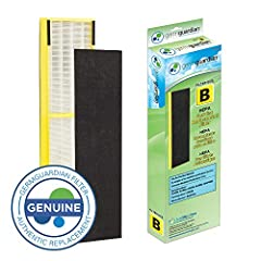 GermGuardian FLT4825 True HEPA GENUINE Replacement Filter B is a combination filter. It includes a True HEPA filter that captures 99.97 percent of allergens as small as .3 microns. It also contains a pre filter/activated carbon filter that ca...