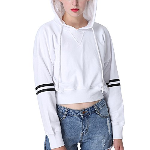 Perfashion crop top hoodies for teen girls,158 White,Small