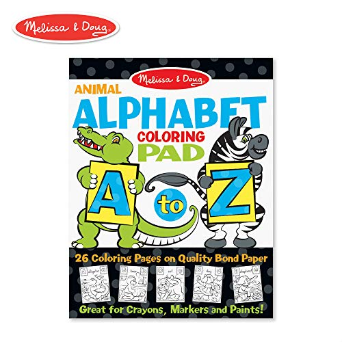 Melissa & Doug 26-Page Animal Alphabet Coloring 11 x 14 Pad, Multicolor ()