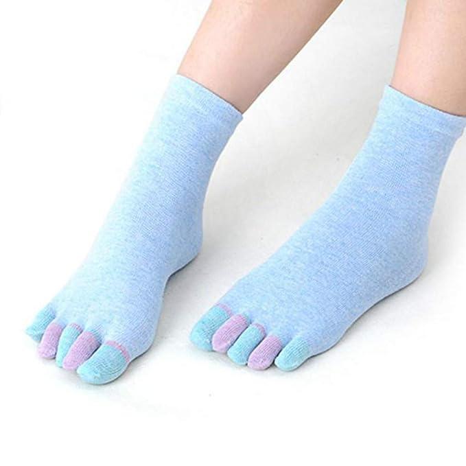 DOGZI Calcetines de estar por casa, Algodón Yoga cinco dedos calcetines Gimnasio Antideslizante Dedo de masaje Calcetines: Amazon.es: Ropa y accesorios