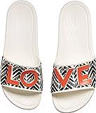 Crocs Women's Drew Barrymore Sloane Chevron Slide Flat Sandal, White, 11 M US