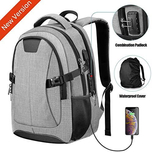 Travel Laptop Backpack, PICTEK Anti-Theft Business Water Resistant Backpack Computer Bag with USB Charging Port for Men Womens Boys Girls, College School Bookbag Fits 15.6 Inch