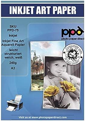 PPD PPD-75-25 - Papel giclée para acuarelas (A3, 240 g/m², 25 ...