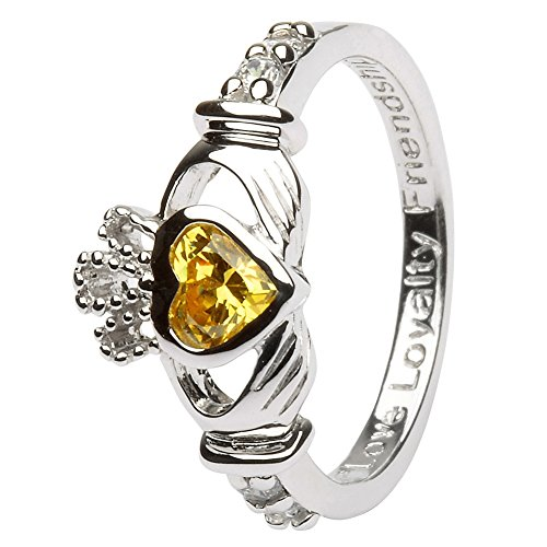 NOVEMBER Birth Month Silver Claddagh Ring LS-SL90-11 - Size: 5 Made in Ireland.