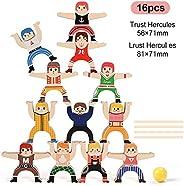 Wooden Stacking Games, Hercules Acrobatic Troupe Interlock Toys ,Balancing Blocks Games Toddler Educational To