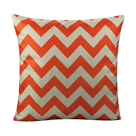 All Smiles Outdoor Patio Throw Pillow Covers Cases Indoor Furniture Decorative Cushion 18x18 Set of 4 for Home Porch Chair Couch Sofa Living Room Geometric Orange - Geometry: Zig Zag,Stripes,Circle,Chevrons,Outside Porch Garden Farmhouse Rustic Orange Color Home Décorations for Indoor/Outdoor Furniture Patio Couch Chair Car Seat,;Color:Orange Print on Beige Ground Material: Made of durable cotton blend linen,slightly rough texture,lightweight Qty: 4 pcs covers/Set of 4 (Only pillow case ,inside filler not include,The pattern is only available on the front side, the back side is Soild) - patio, outdoor-throw-pillows, outdoor-decor - 51GF E13%2BcL. SS570  -
