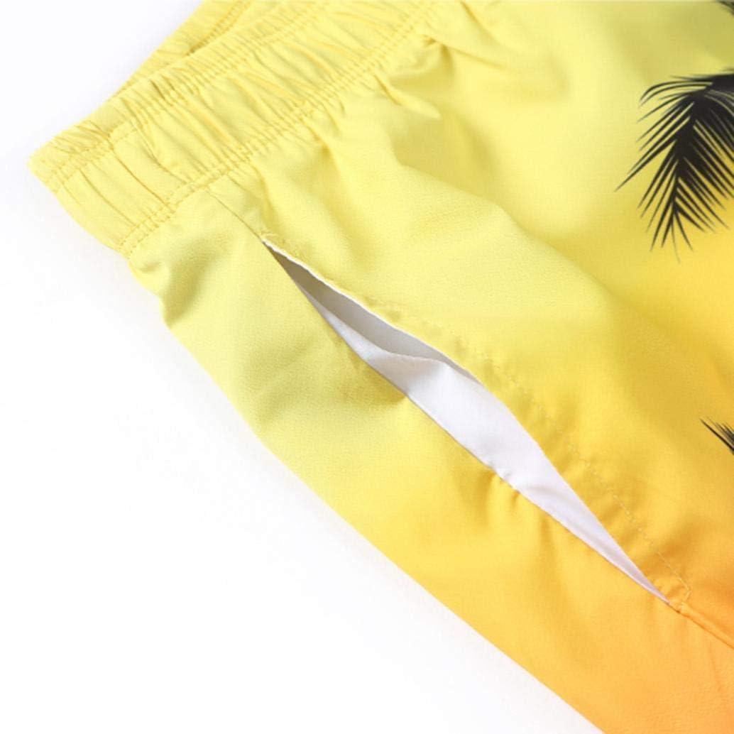 iLXHD Mens scanties Summer Casual Plus Size Tropic Hawaii Palm 3D Printed Beach Shorts Pants
