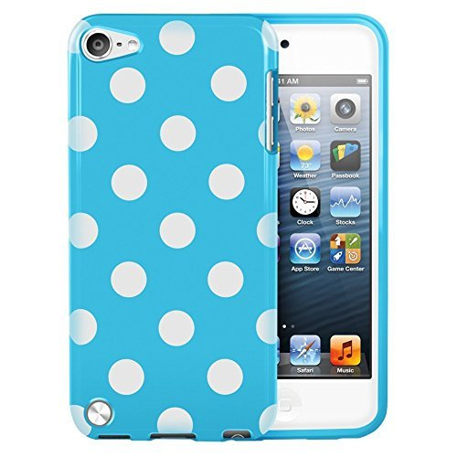 EEA Silicone TPU Polka Dot Case Cover Skin for iPod Touch 5 5th Generation (Light Blue)