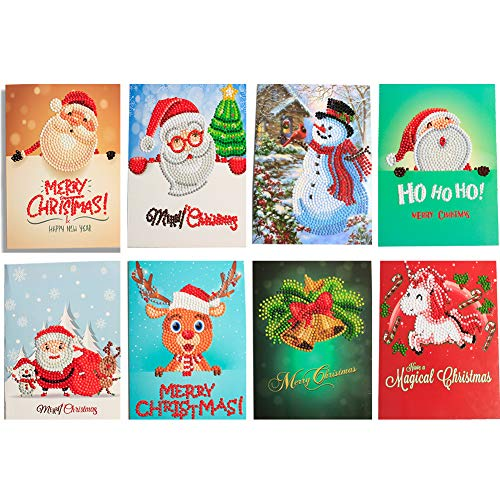 HuaCan Christmas Cards 5D DIY Diamond Painting Round Drill Greeting Thank You Cards Creative 8 Packs (Video Diamond Card)