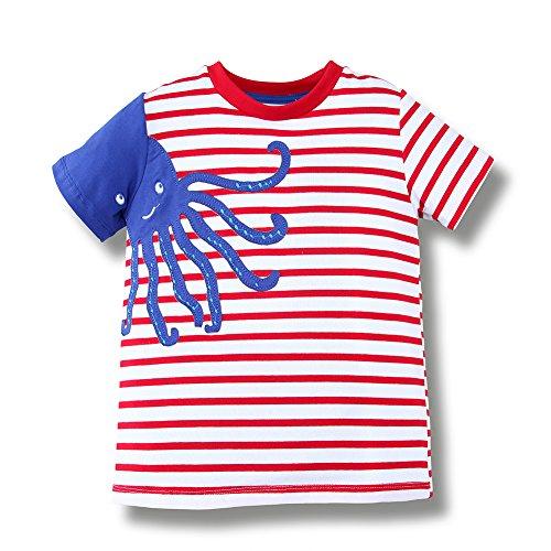 BEILEI CREATIONS Little Baby Boys Summer Crewneck Cartoon Cotton T-Shirt (3T, Octopus)