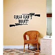 Design with Vinyl SamD367-177 Decor Item Girls Can't What Image Animal Hunting Hunter Man with Gun Image Girls Kids Bed Room Sports, 8-Inch X 12-Inch, Black