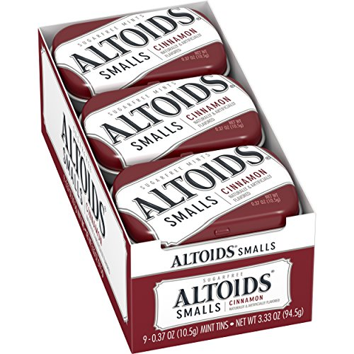 Altoids Smalls Cinnamon Sugarfree Mints  0.37 ounce (9 Packs) (Mini Free Sugar)