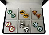 Geek & Glitter Marvel & DC Cufflink Set - 6 Pairs with a Box | Silver Cufflinks for Men, Comics Merchandise Collectibles, Superman Batman Superhero (DC Collection)
