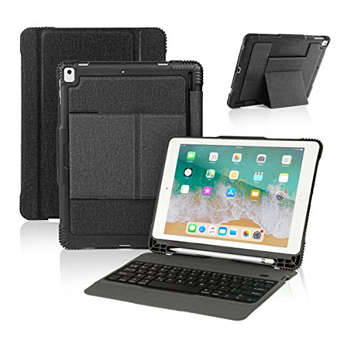 Case Charging Ipad (New iPad 9.7 2017 / iPad Pro 9.7 Keyboard Case with Pencil Holder, Wireless Bluetooth Keyboard with Shockproof Heavy Duty Impact Back Cover for iPad Pro 9.7 / iPad 9.7 2018 / 2017 / iPad Air / Air 2)