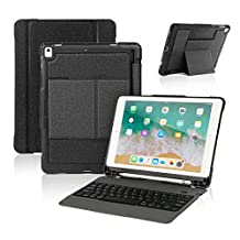 New iPad 9.7 2018 / iPad Pro 9.7 Keyboard Case with Pencil Holder, Wireless Bluetooth Keyboard with Shockproof Heavy Duty Impact Back Cover for iPad Pro 9.7 / iPad 9.7 2018 / 2017 / iPad Air / Air 2