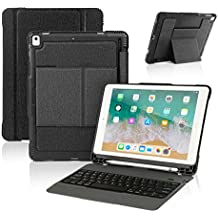 New iPad 9.7 2017 / iPad Pro 9.7 Keyboard Case with Pencil Holder, Wireless Bluetooth Keyboard with Shockproof Heavy Duty Impact Back Cover for iPad Pro 9.7 / iPad 9.7 2018 / 2017 / iPad Air / Air 2