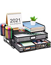 $32 » Marbrasse 3 Tier Mesh Desk Organizer with Drawer, Multi-Functional Desk Organizers and Accessories, Paper Letter Organizer with 2 Pen Holder for Home Office Supplies